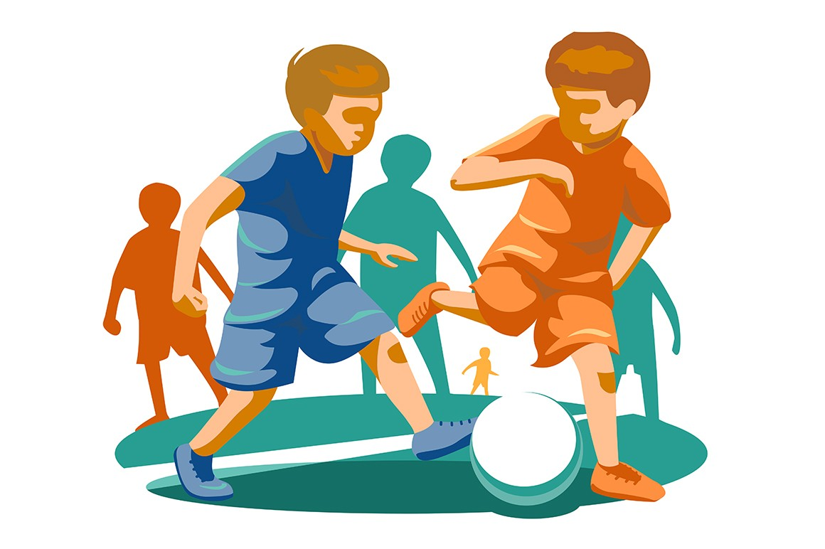 Little kids playing football vector illustration. Children in uniform fighting for ball. Boys having fun at playing field flat style design. Team sport concept