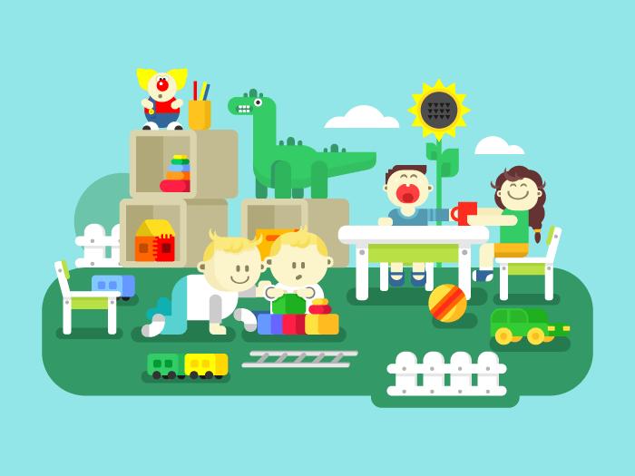 Kindergarten flat vector illustration