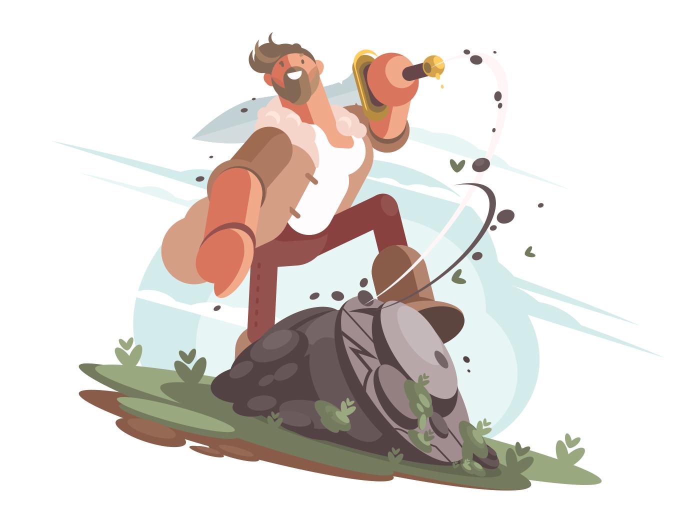 Brave warrior king arthur with sword in hand. Vector illustration