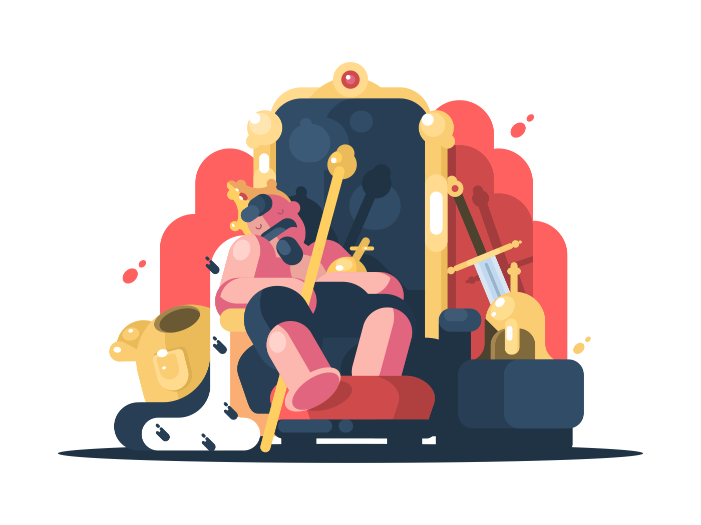 Noble king with crown asleep on golden throne. Vector illustration