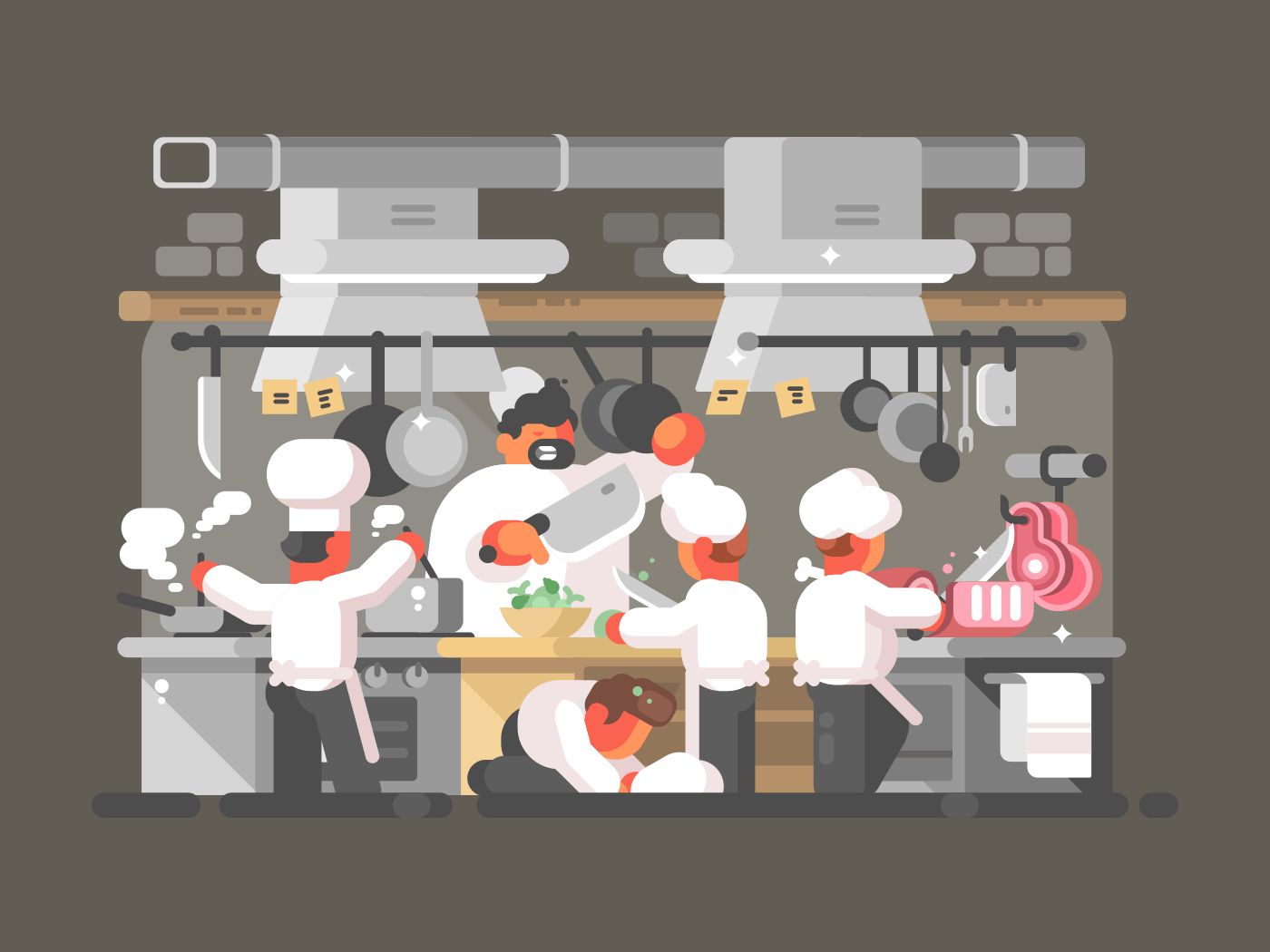 Group of chefs cooks in kitchen of restaurant. Vector illustration