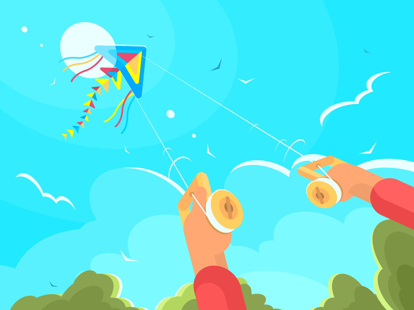 Man playing with kite launching in sky. Vector flat illustration