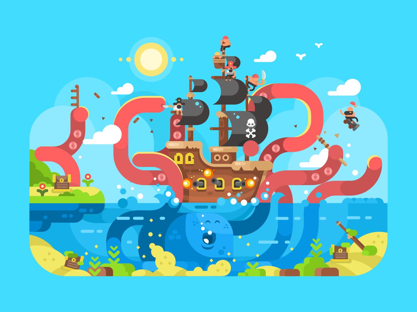 Kraken ship sinks flat vector illustration