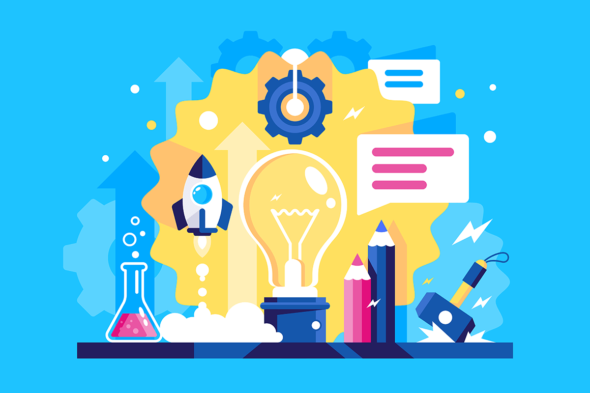 Flat laboratory of ideas with rocket, message, hammer, gear wheel, flasks with liquid.