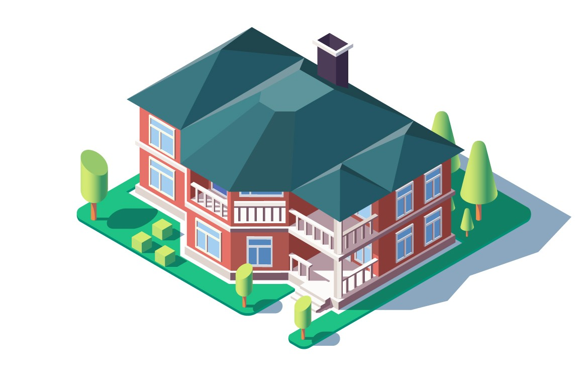 3d isometric large comfortable home with green tree, lawn and balcony.