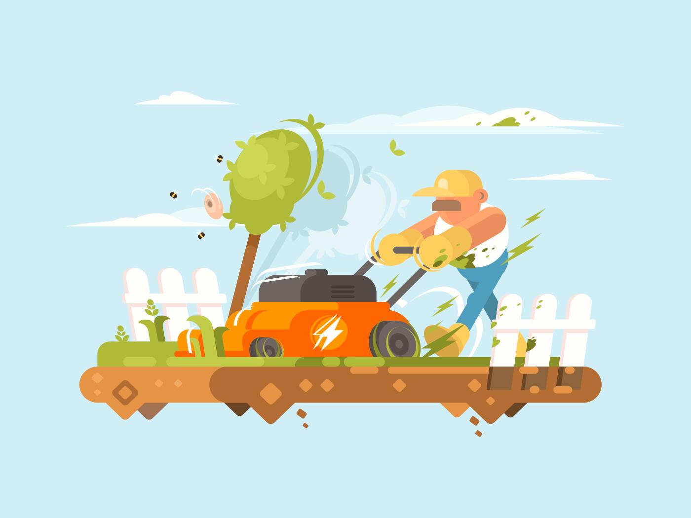 Man mowing grass illustration