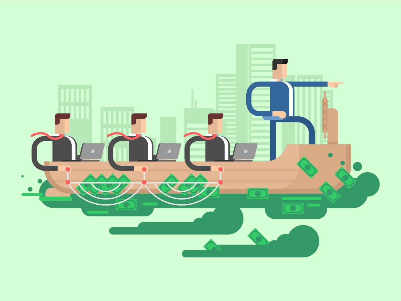 Leader company business ship flat vector illustration
