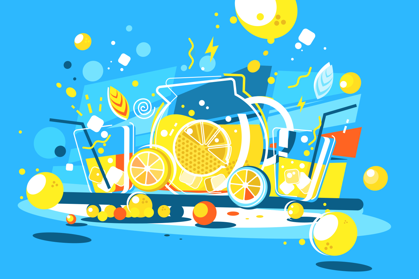Cool lemonade in glass jug. Delicious soft drink of lemons. Vector illustration