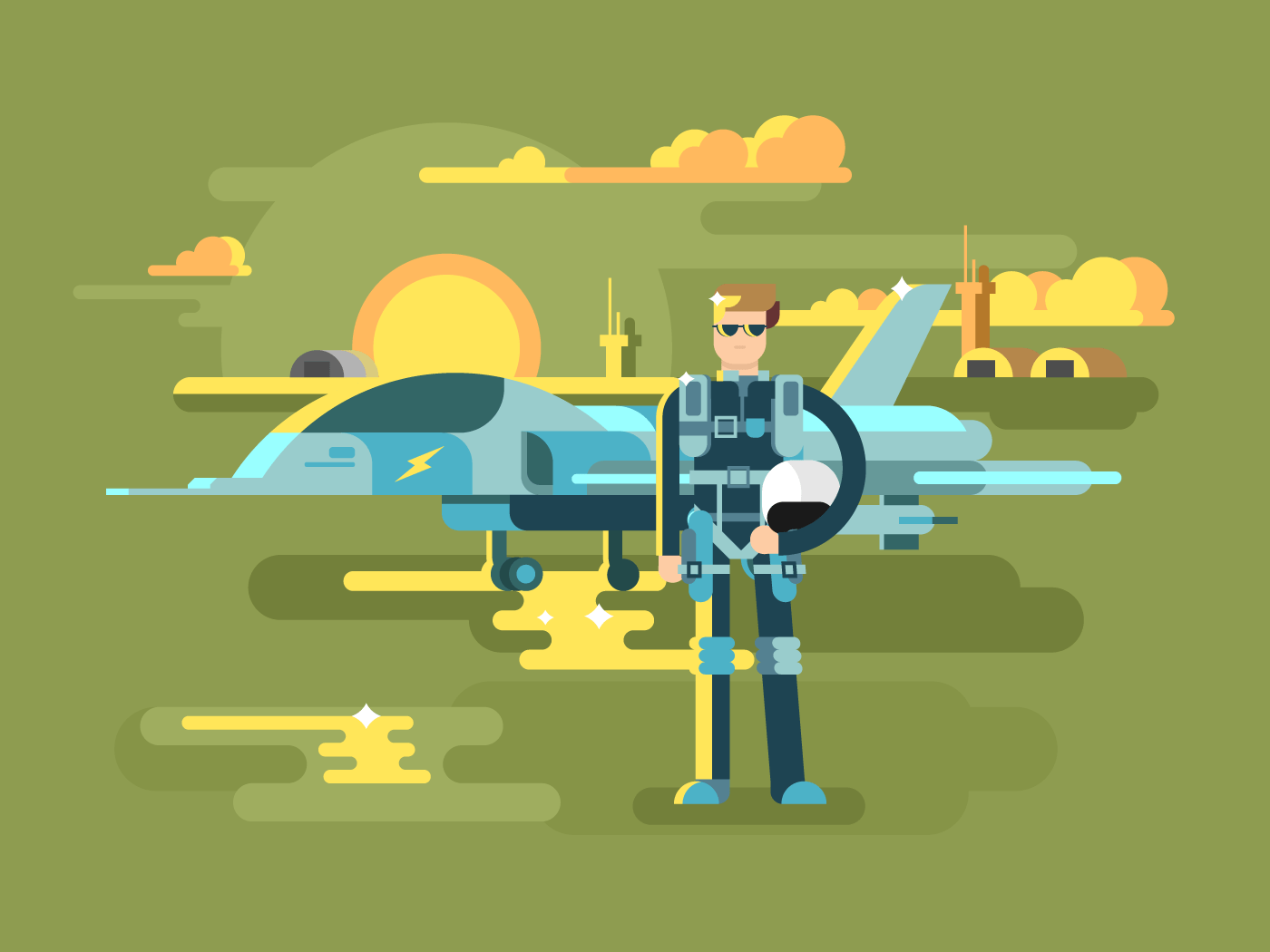 Military pilot man flat vector illustration