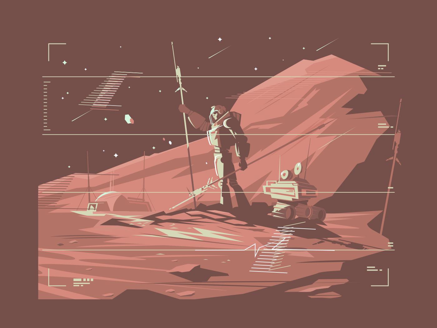 Human life on surface of planet Mars illustration