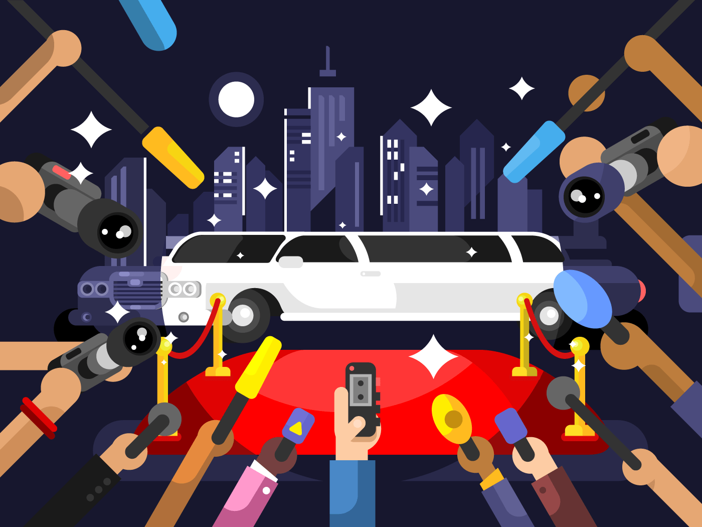 Limousine and red carpet flat vector illustration