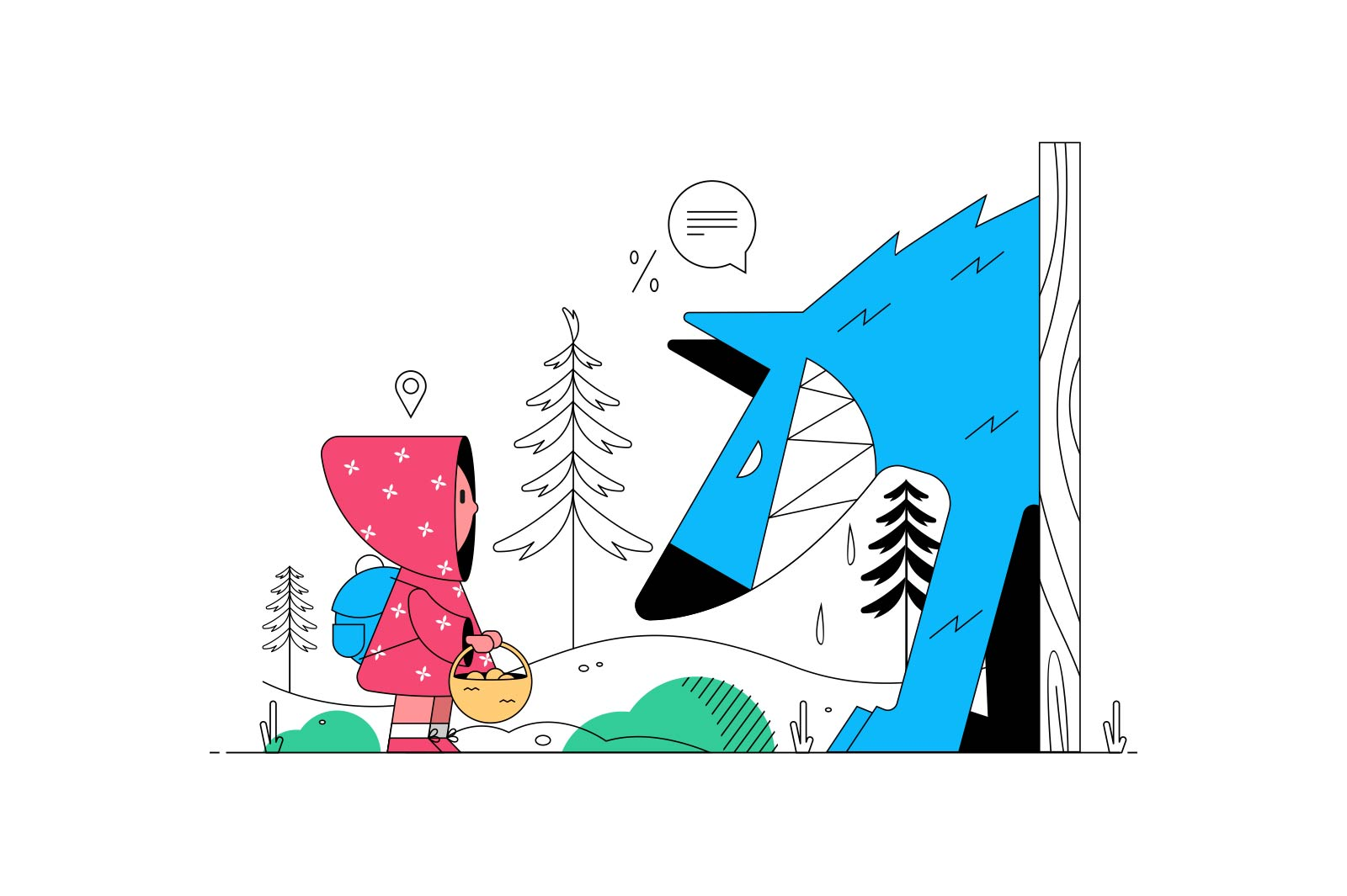 Little red riding hood vector illustration. Girl holding basket with treats flat style. Big blue wolf in dark forest. Famous fairytail concept. Isolated on white background