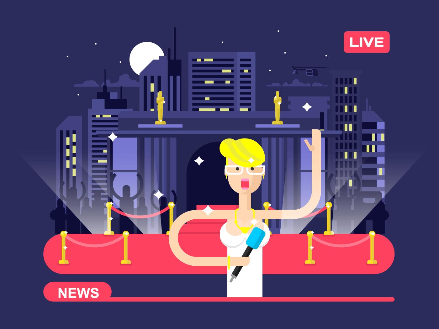 Live news reporter flat vector illustration
