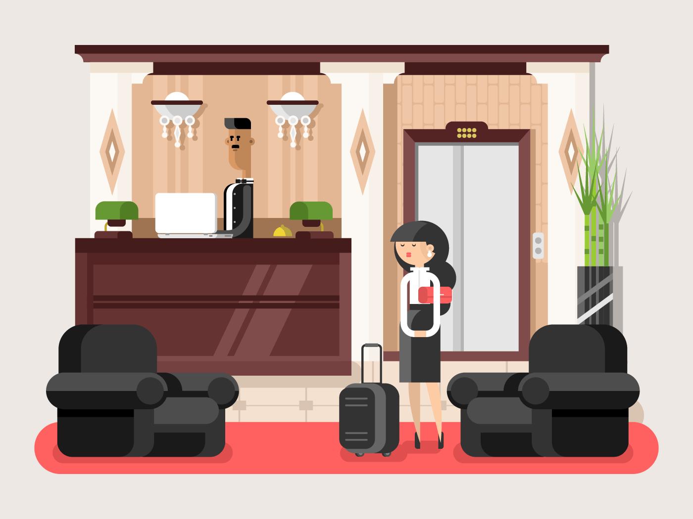 Lobby hall hotel flat vector illustration
