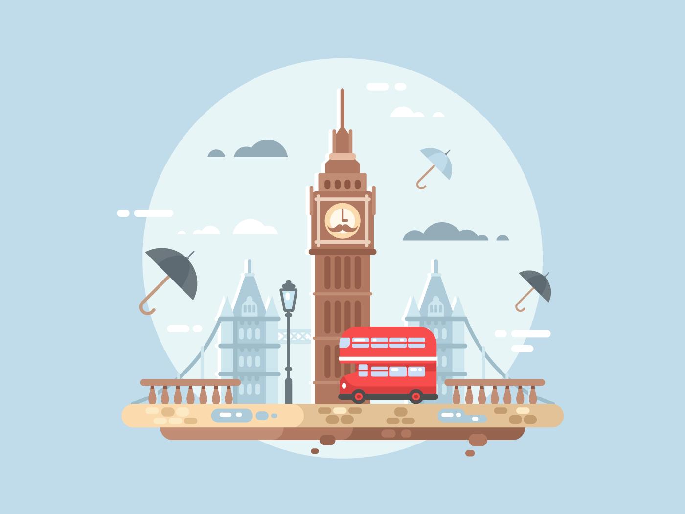 London city flat vector illustration