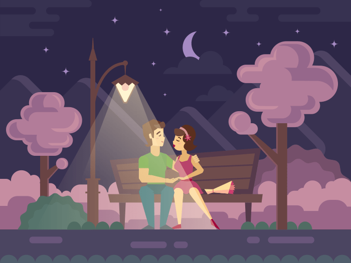 Kissing Couple on a Park Bench flat illustration