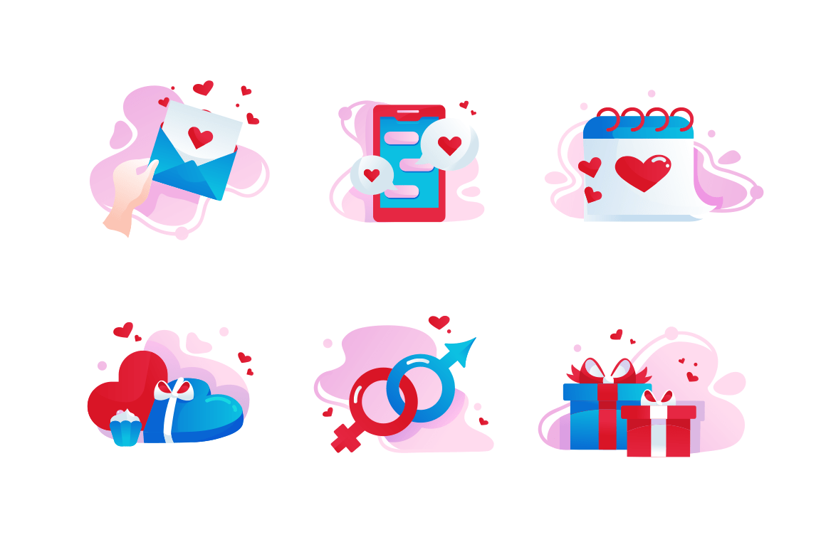Set icons with love, gift box, message, date, heart.