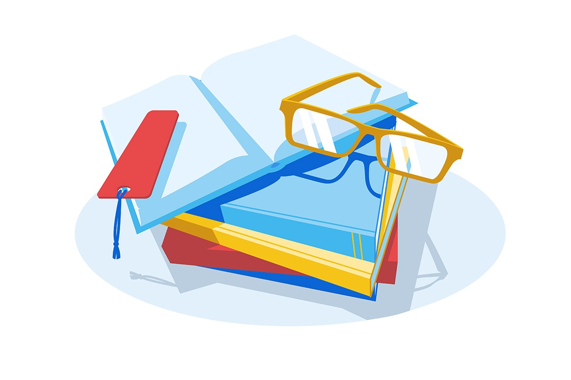Stack of books and glasses vector illustration. Intellectual hobby. Spending leisure time with interesting textbooks flat style design. Isolated on white background