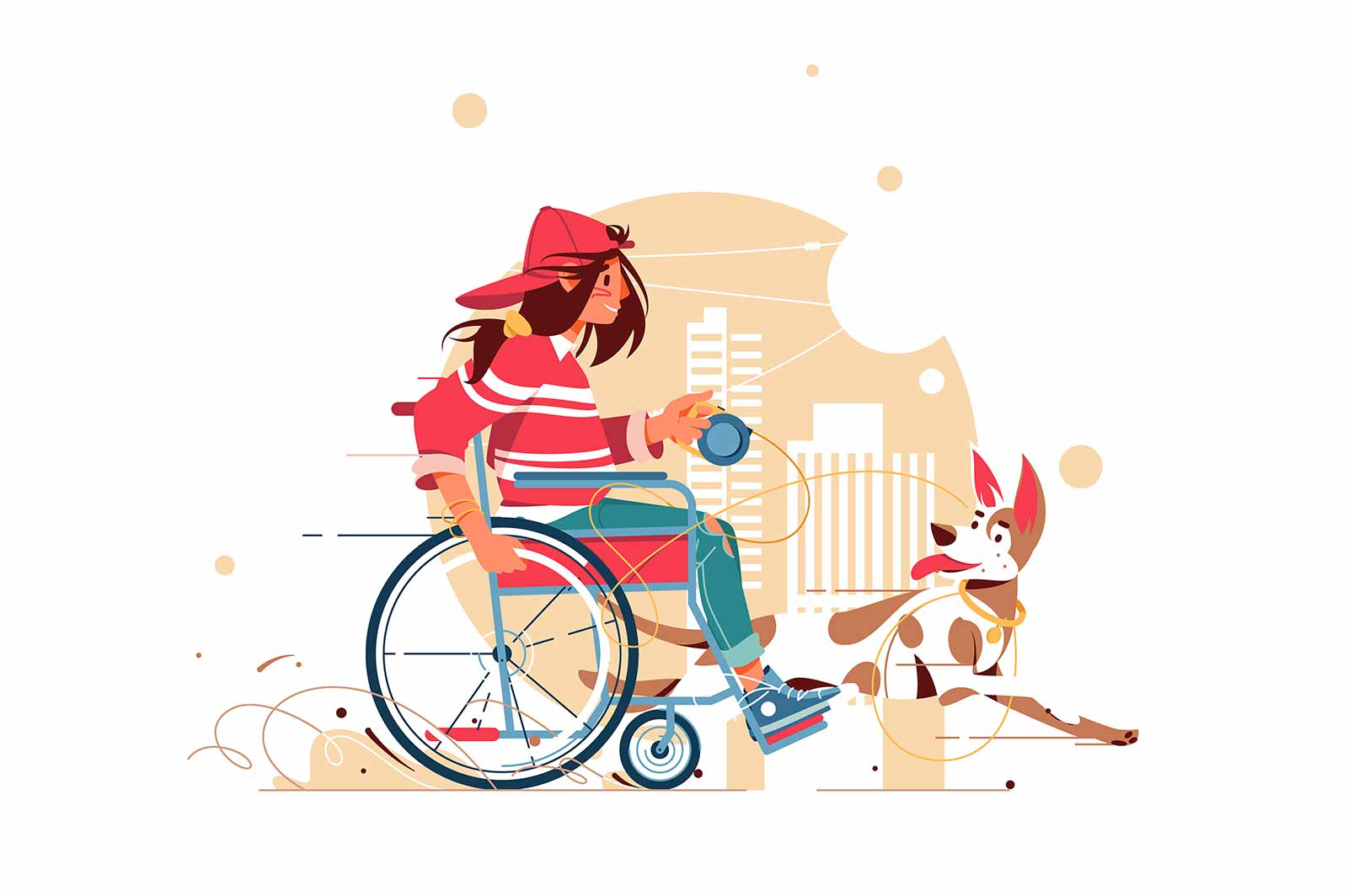 Woman sitting in wheelchair playing with dog vector illustration