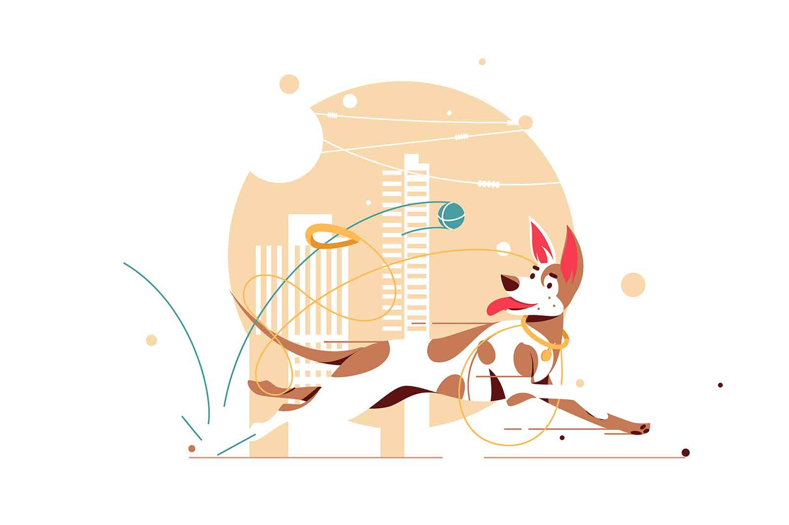 Dog catching ball vector illustration
