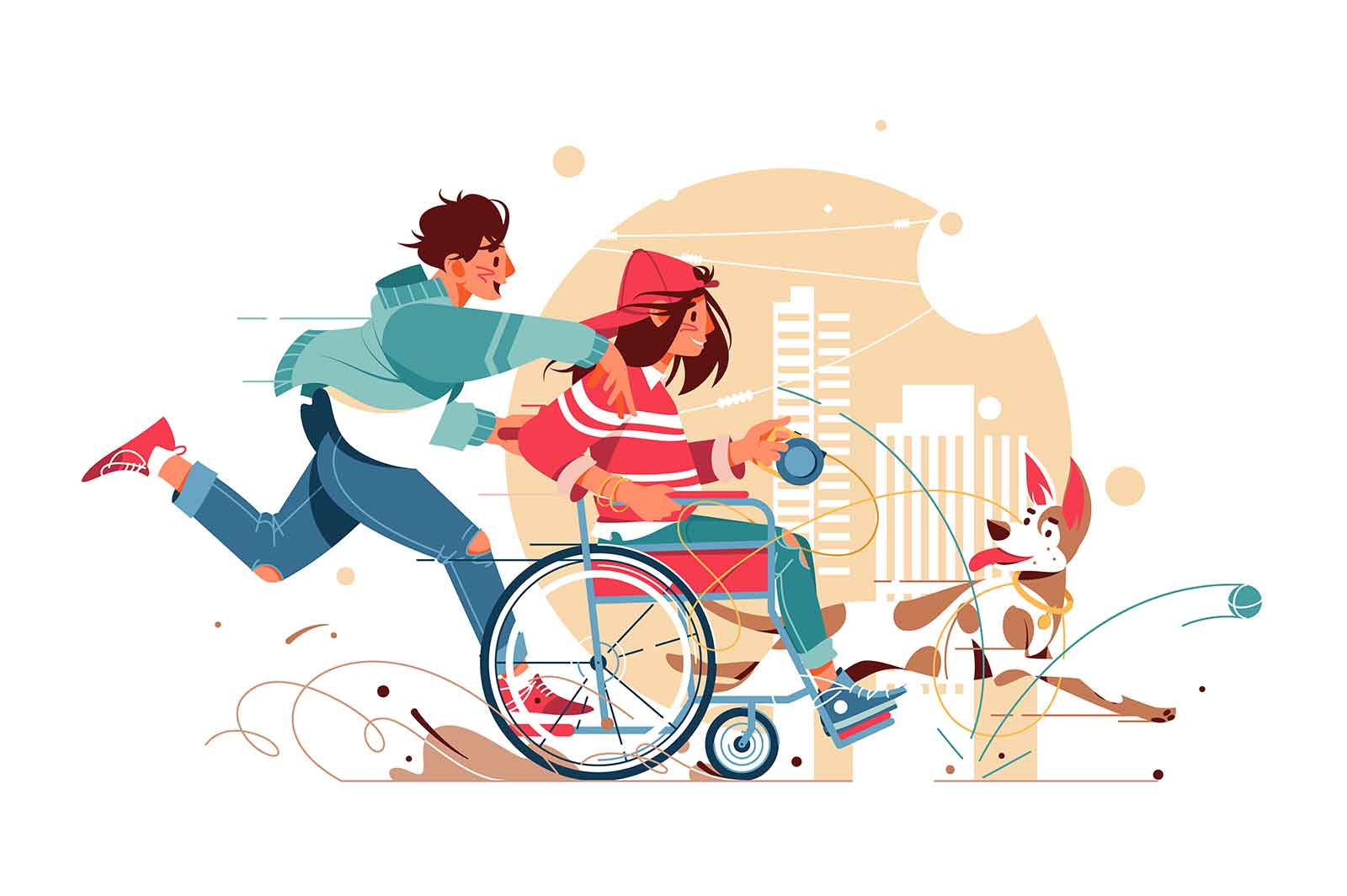Guy runs and a woman in wheelchair plays with dog vector illustration