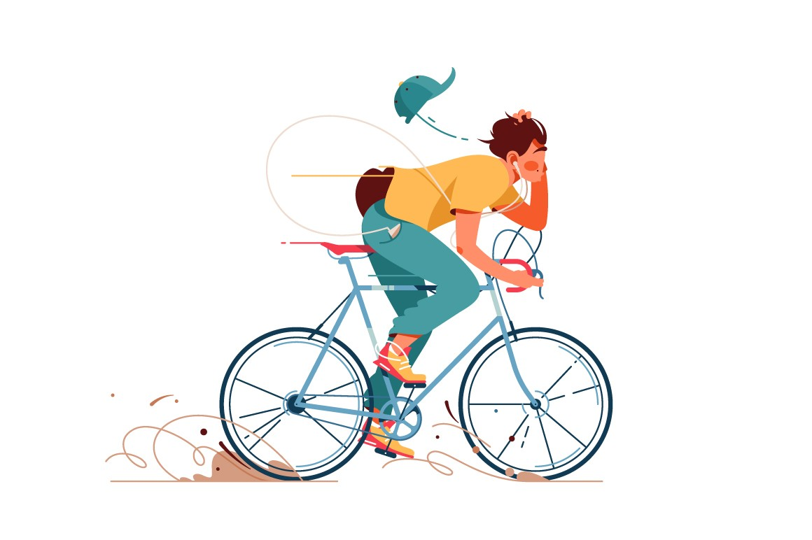 Man rides bicycle and listening to music vector illustration