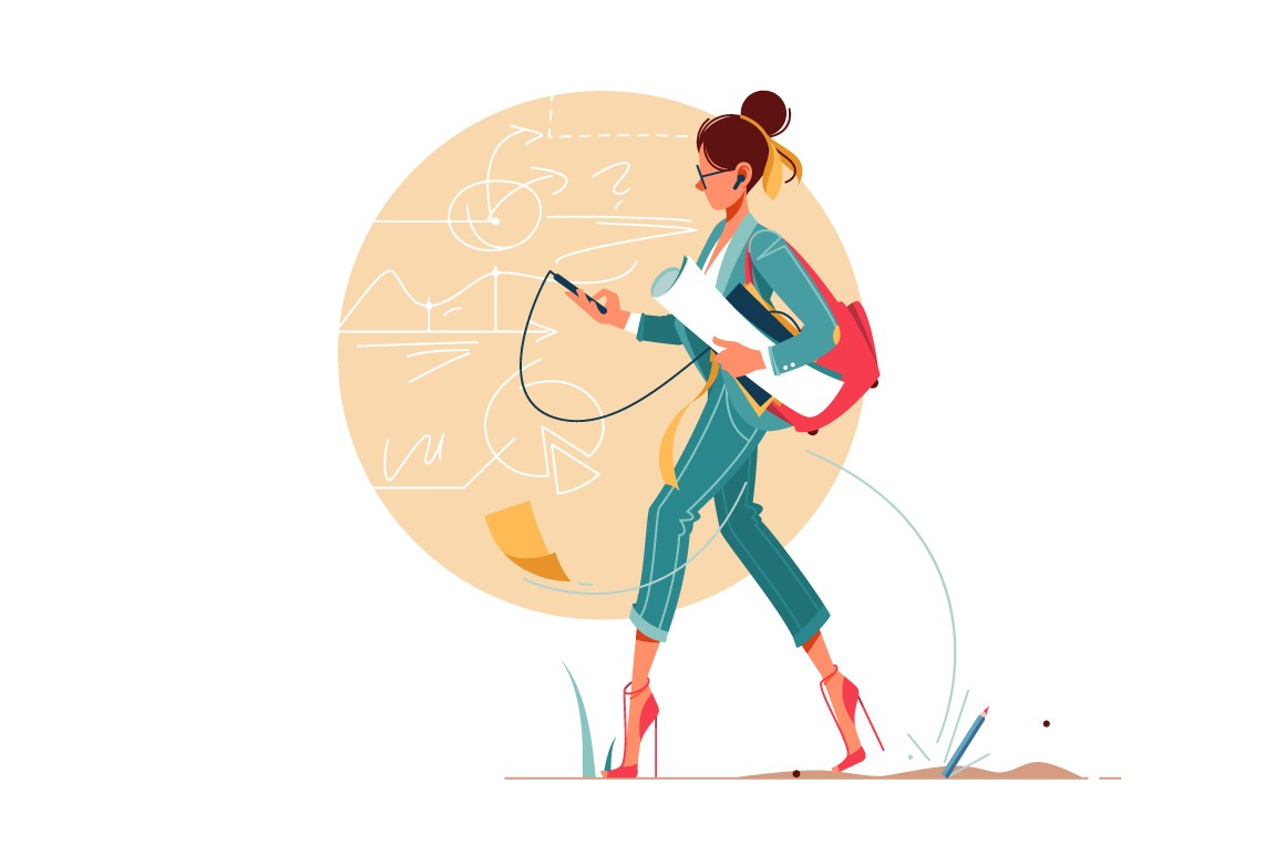 Businesswoman going to work thinking about business vector illustration