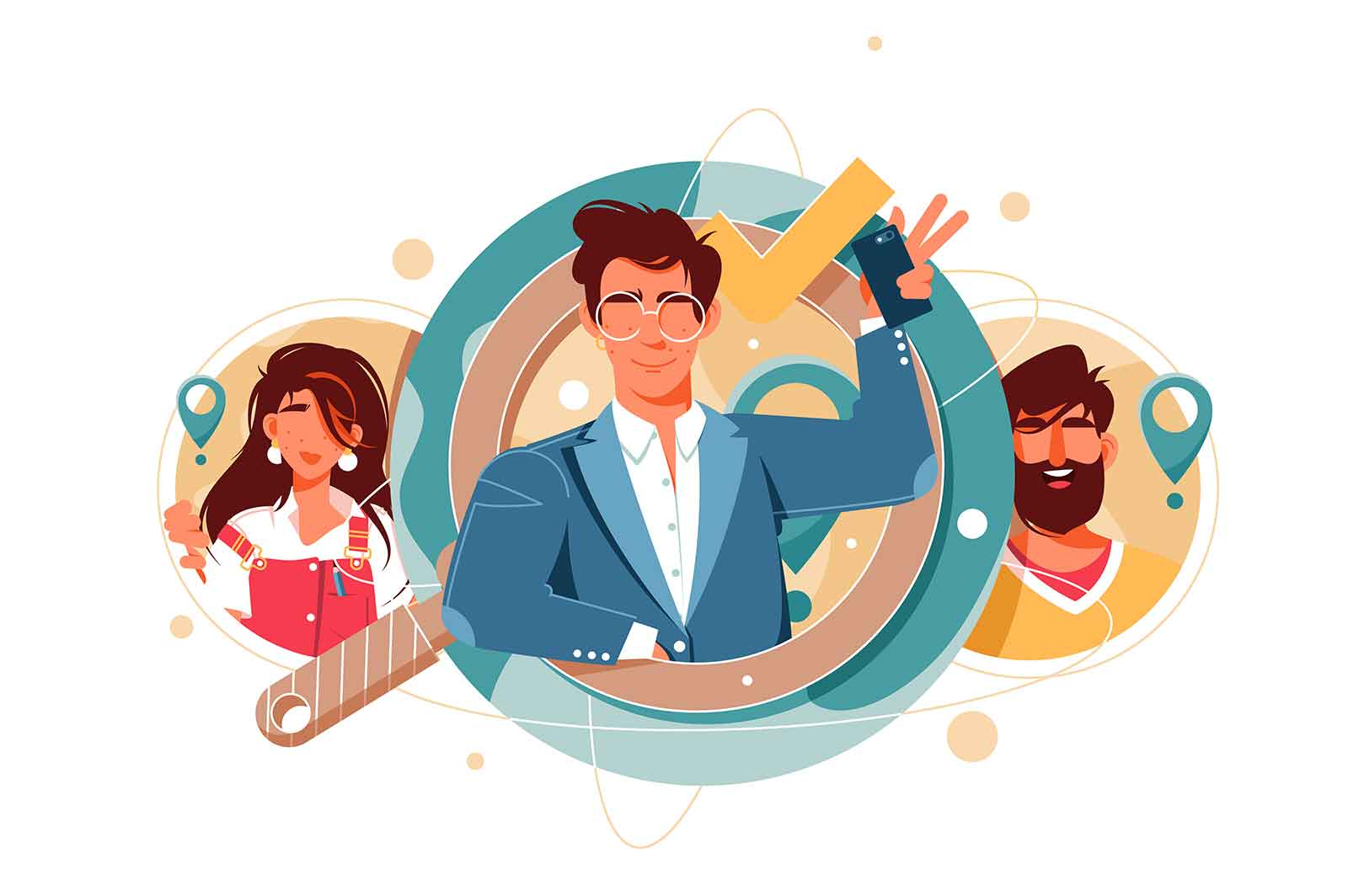 HR man managers welcomes candidate searching vector illustration
