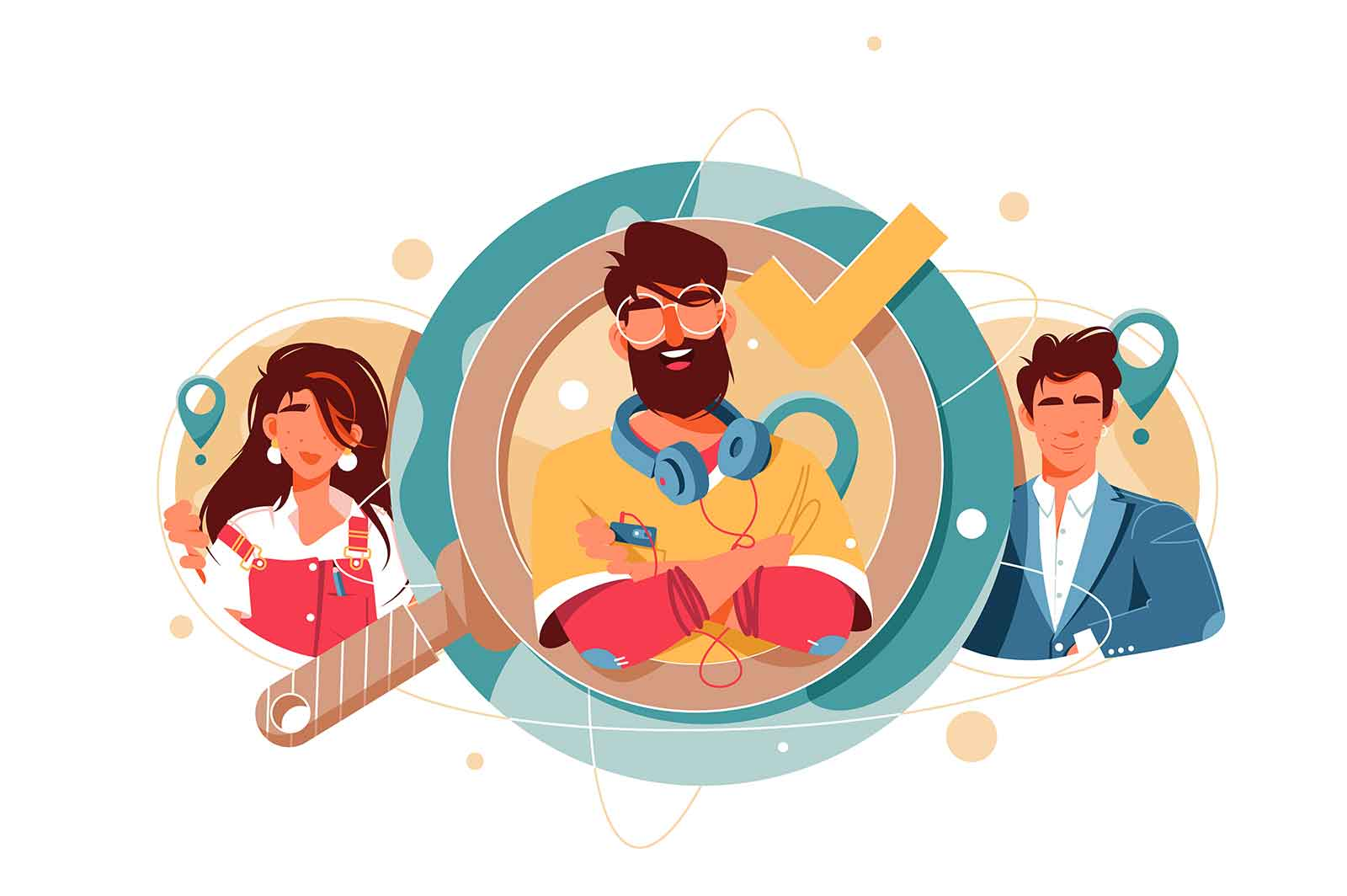 Happy bearded HR man manager searching candidates vector illustration