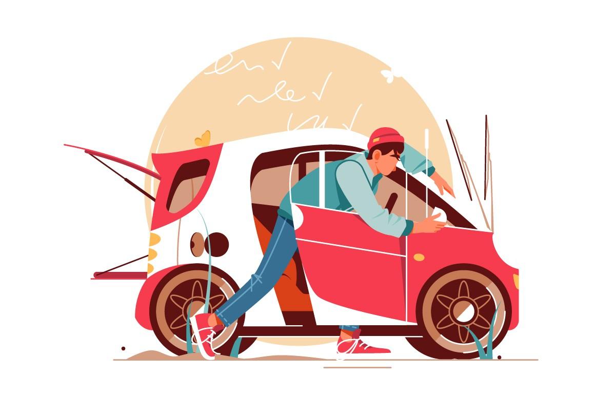 Man making car inspection vector illustration.
