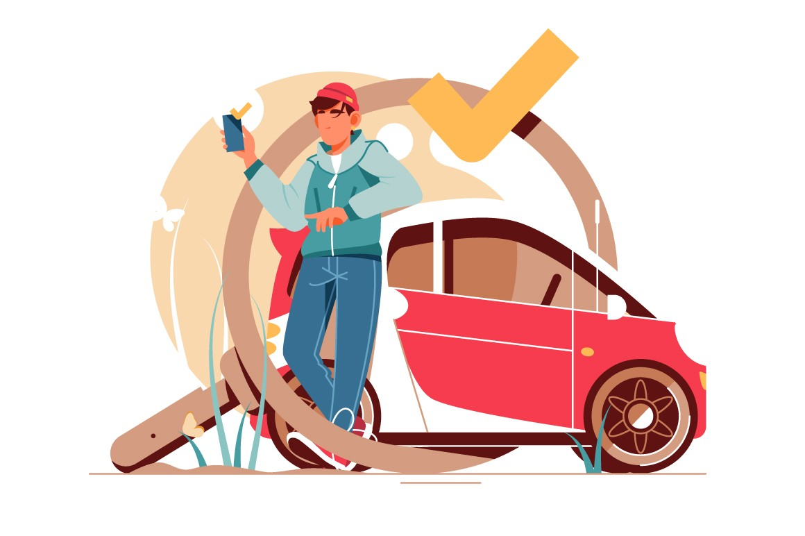Man searching for a good car using smartphone vector illustration.