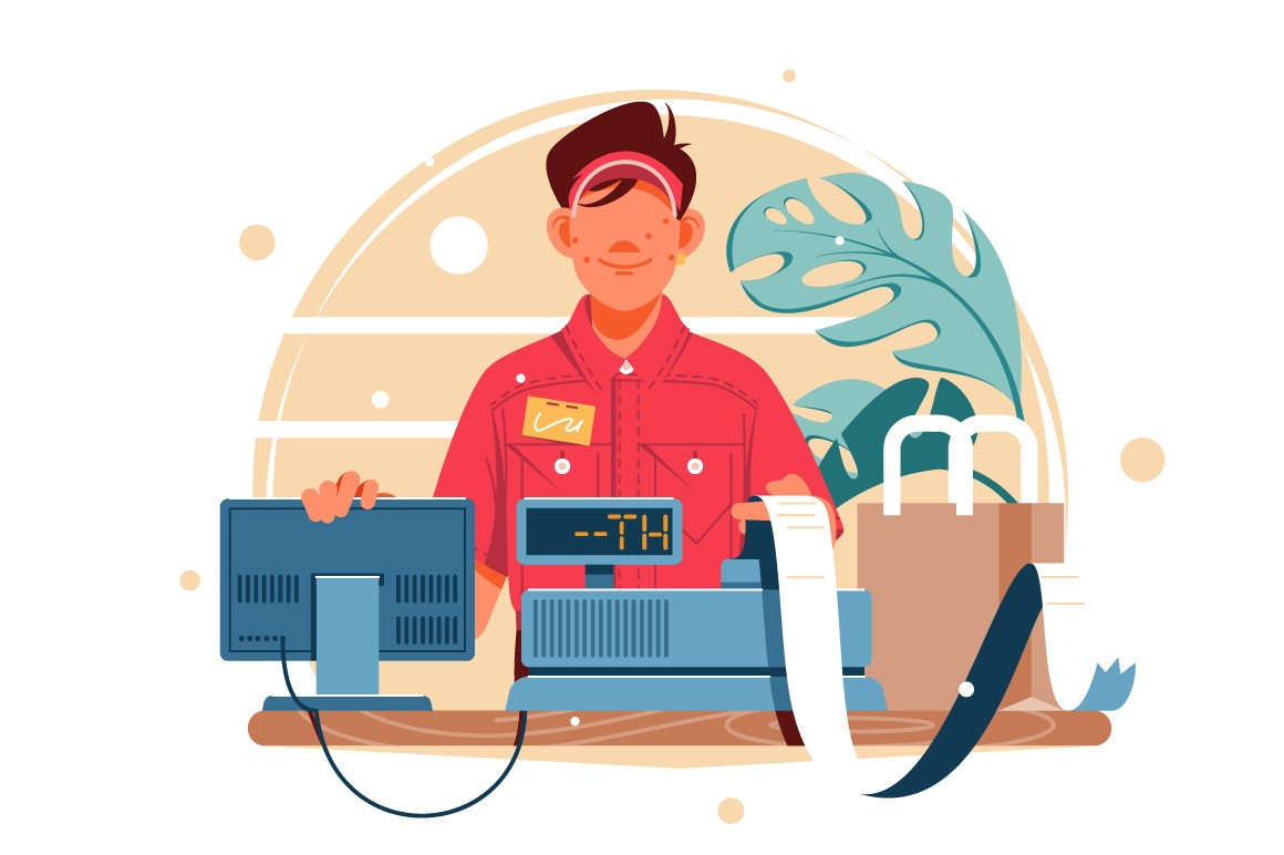 Young smiling man cash register at the workplace in supermarket vector illustration.