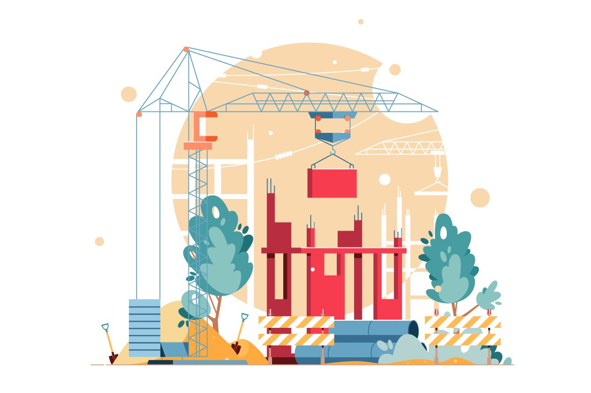 Construction in process vector illustration.