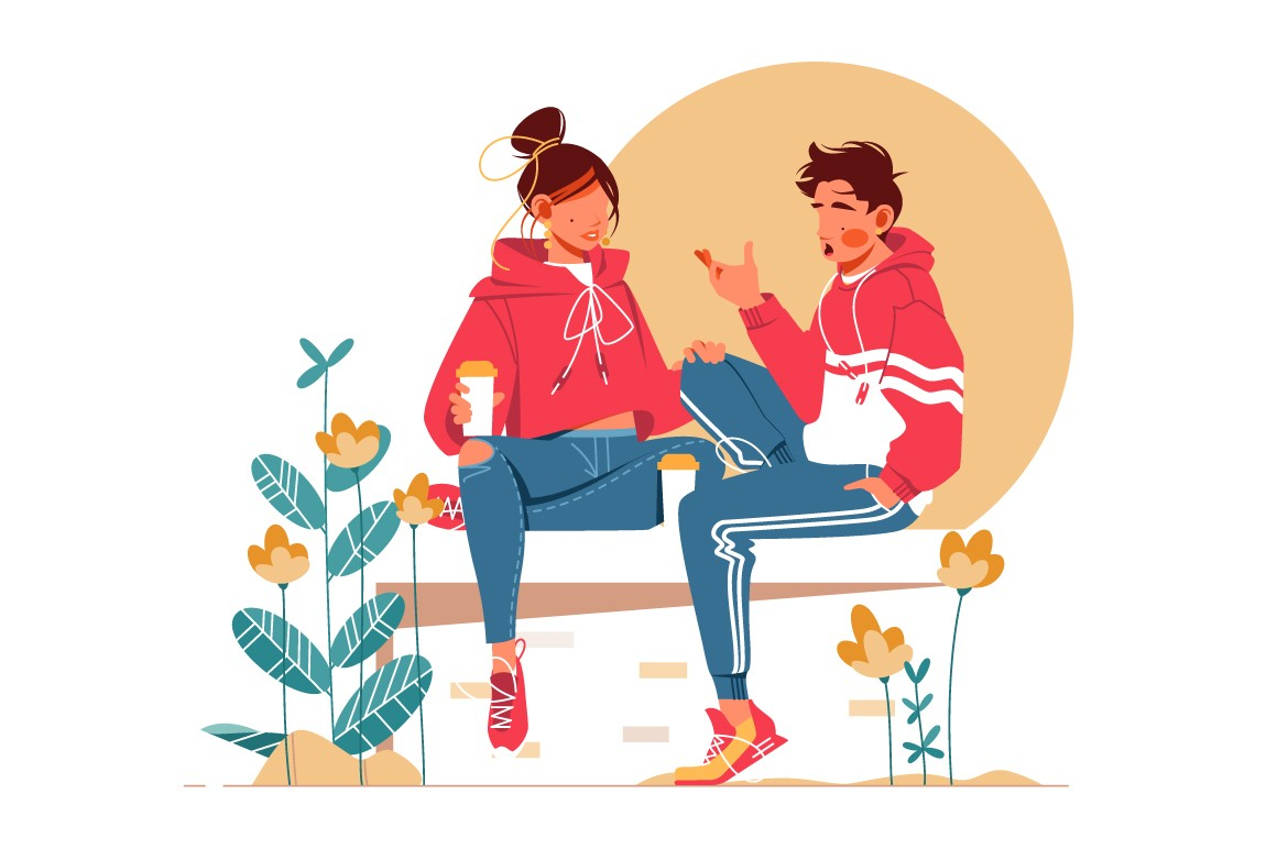 Sweet couple talking sitting on bench vector illustration.