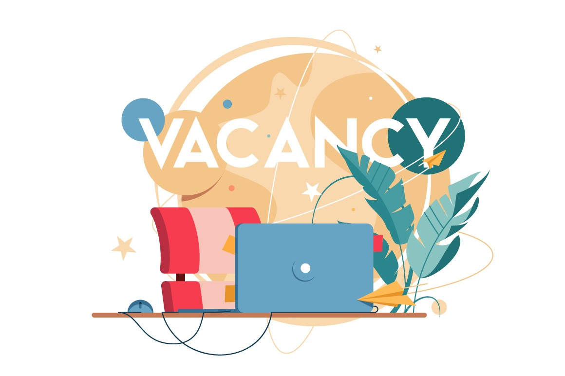 New vacancy with laptop for distance communication at workplace without people.
