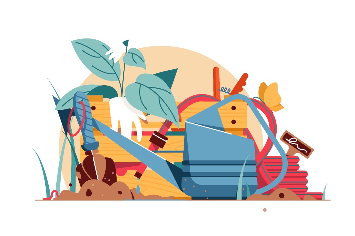 Various tools for garden care vector illustration.