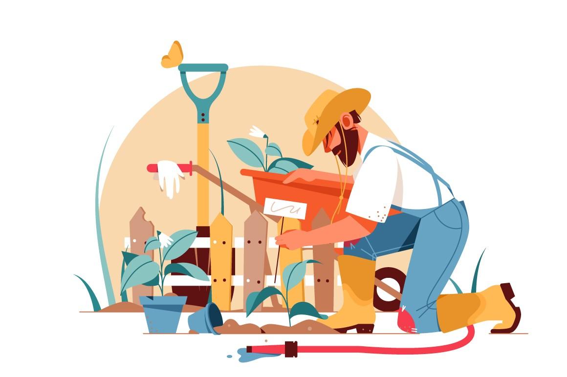 Handsome adult bearded man gardener gardening using equipment vector illustration.