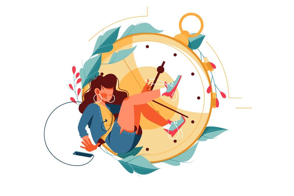 Woman using smartphone kills time near clock vector illustration