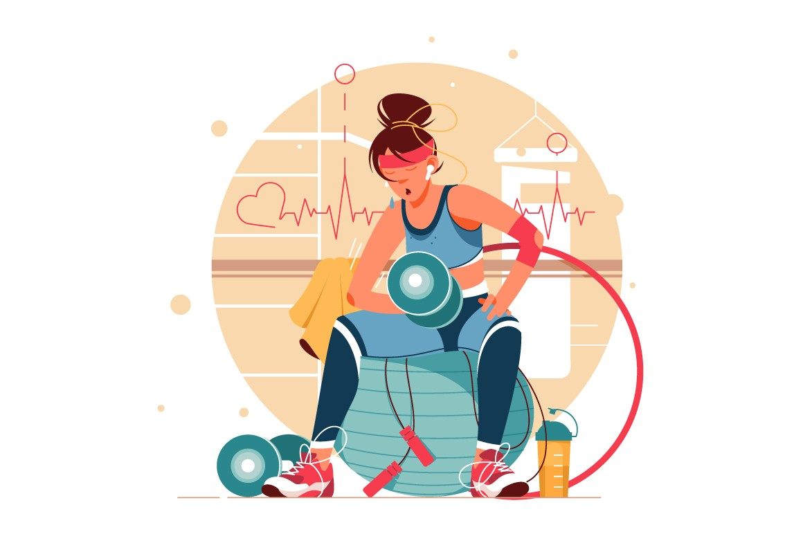 Woman training in gym vector illustration