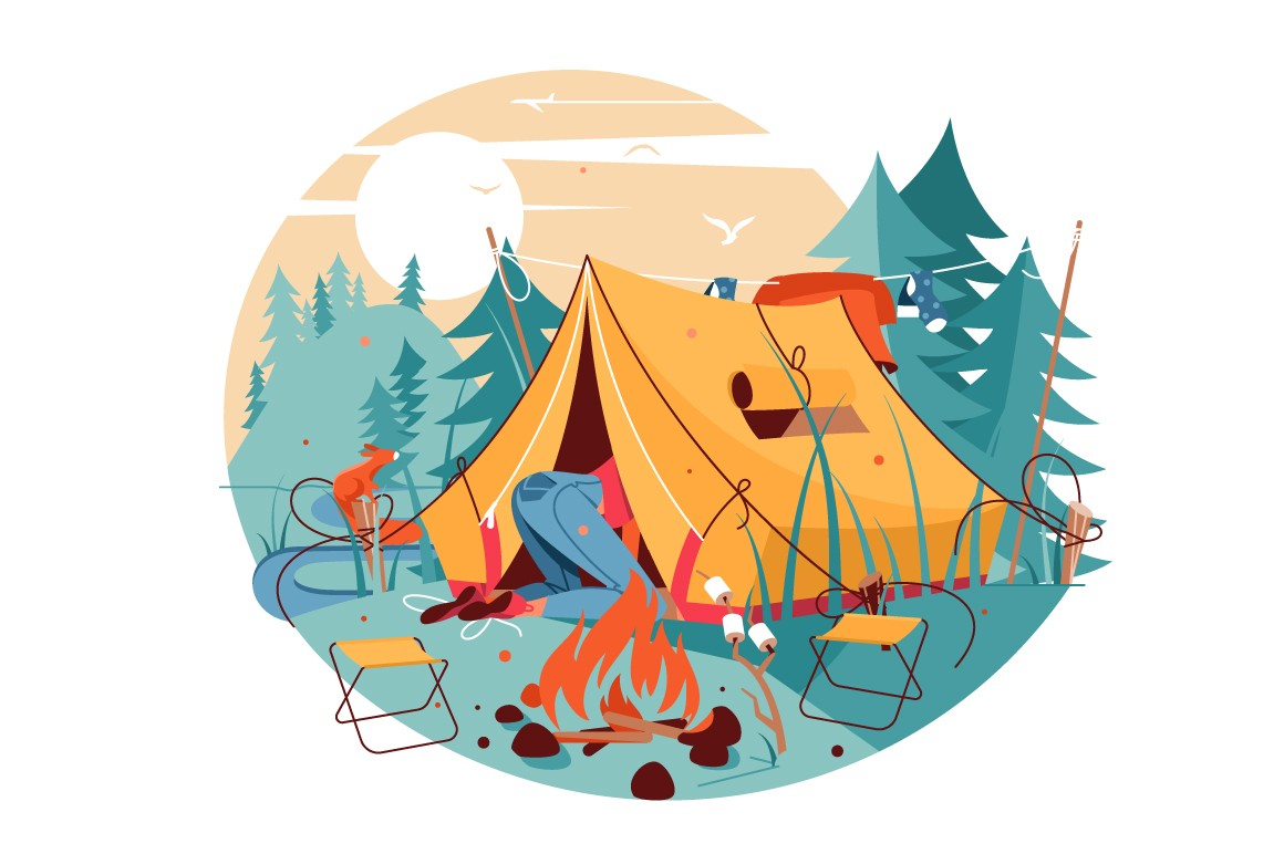 Attractive woman searching in hike tent near bonfire vector illustration.