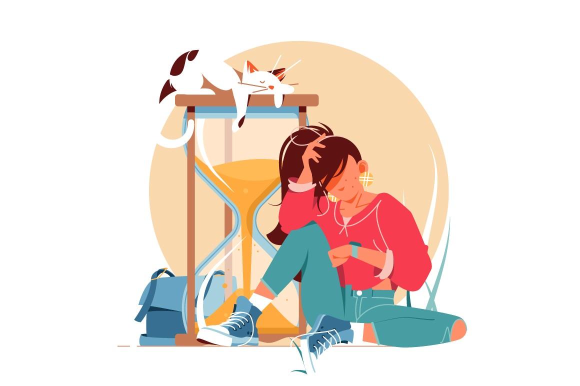 Girl waiting for something vector illustration.