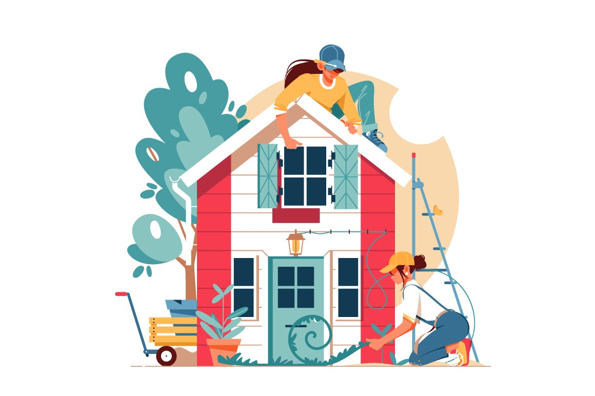 Two woman building a house vector illustration