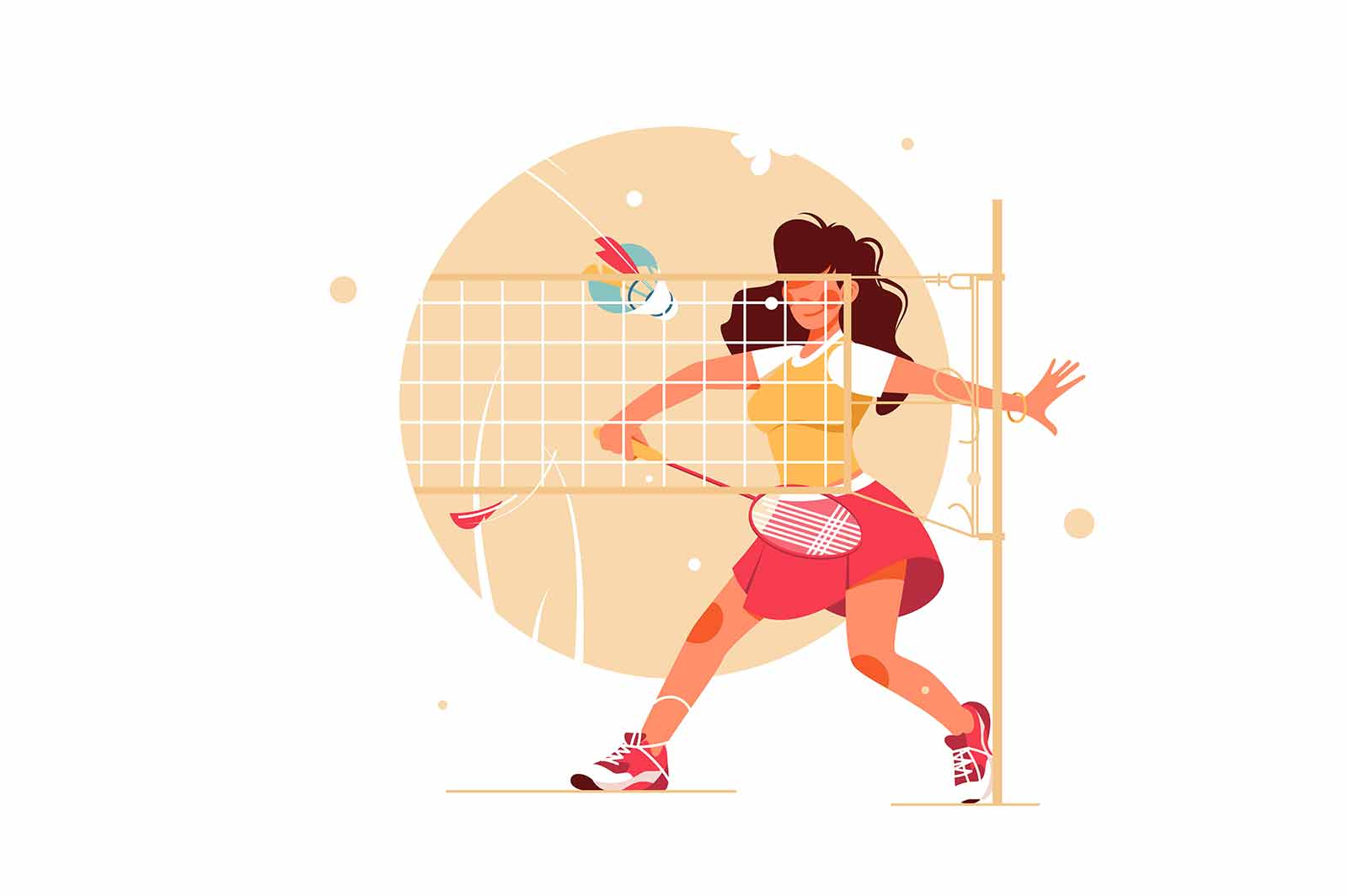Girl playing badminton vector illustration