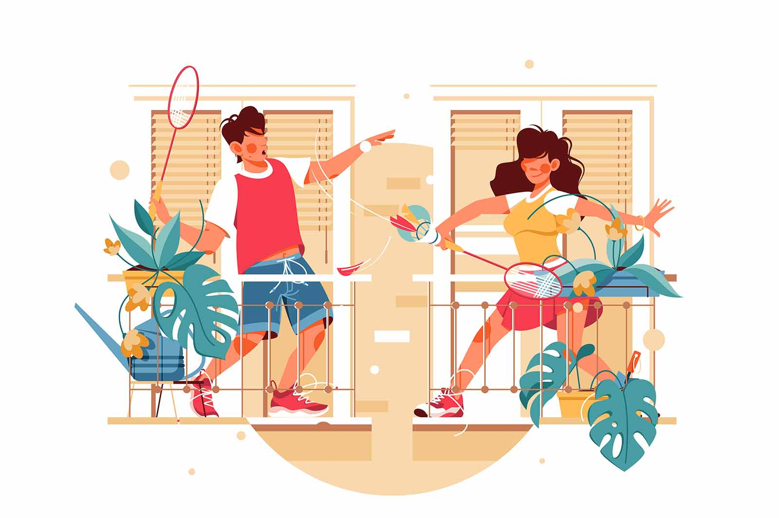 Girl and guy on balcony play badminton vector illustration