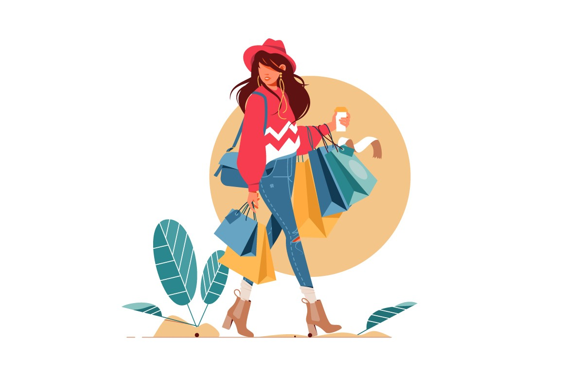 Fashionable woman holding packages after shopping vector illustration