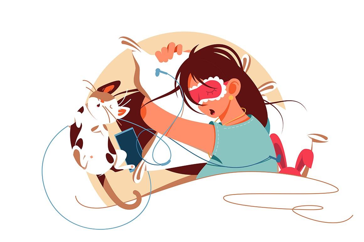 Sleeping girl in bed vector illustration