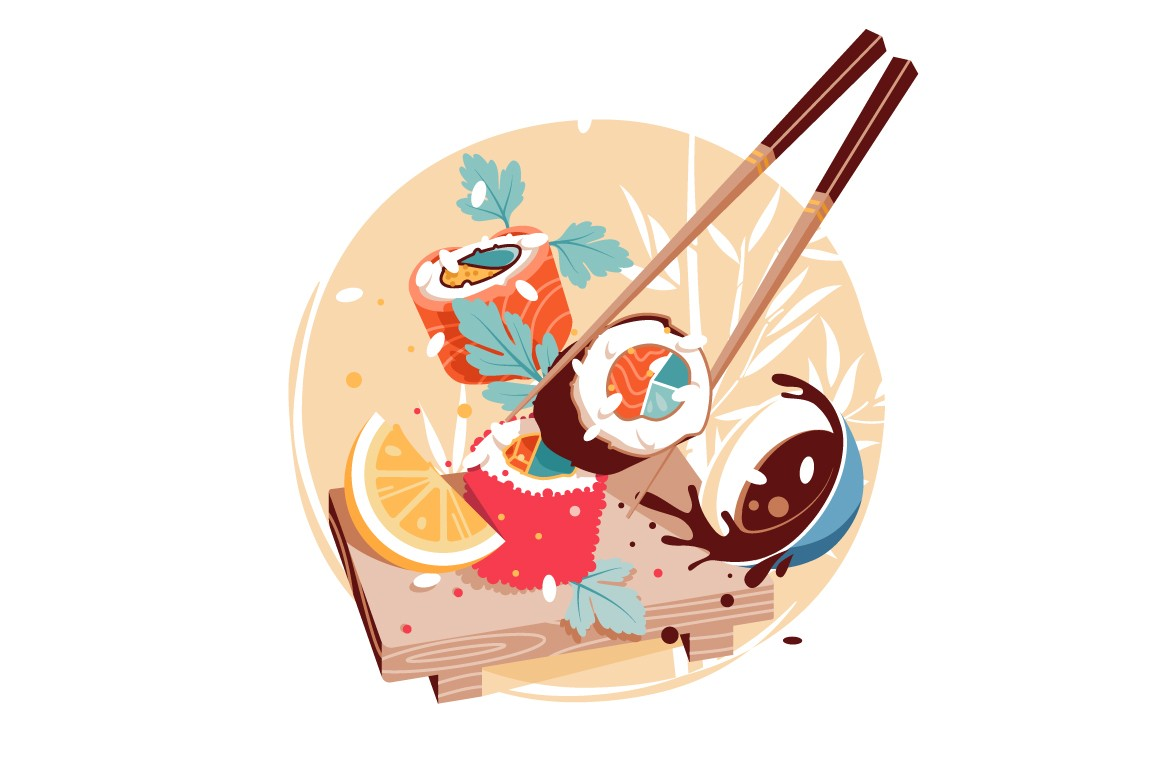 Sushi delicious fresh chinese cuisine vector illustration.