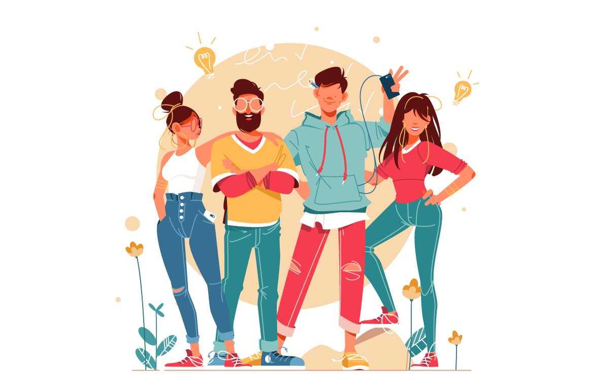 Creative and fun startup team vector illustration