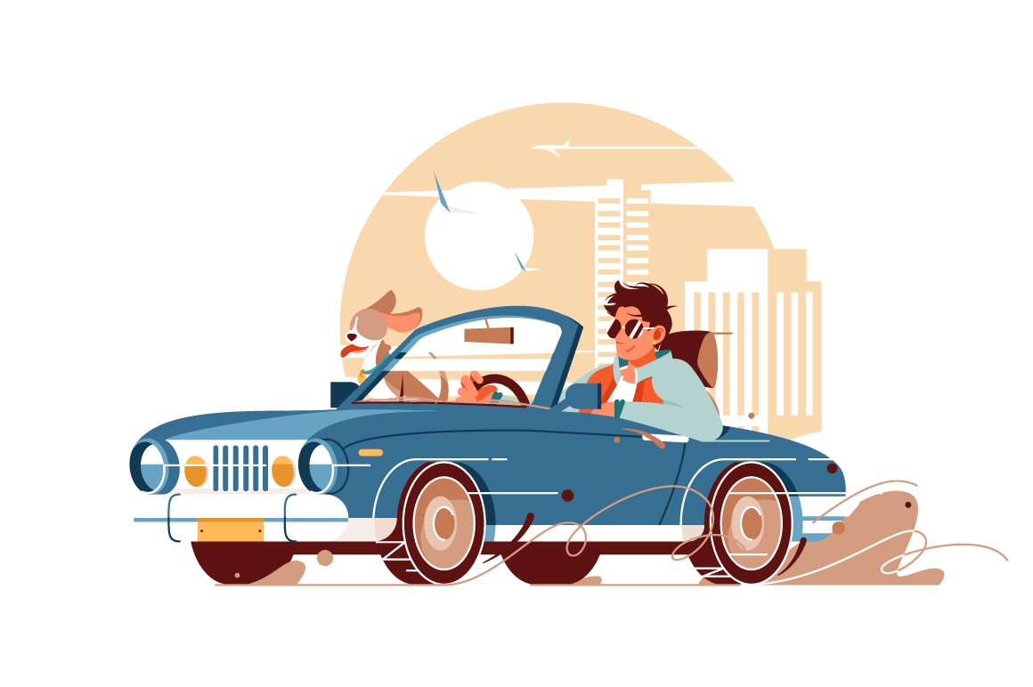 Young handsome man with dog go on trip by car vector illustration.