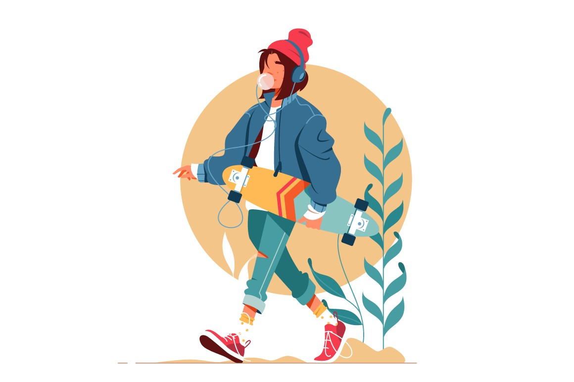 Girl walking outside and listening to music vector illustration